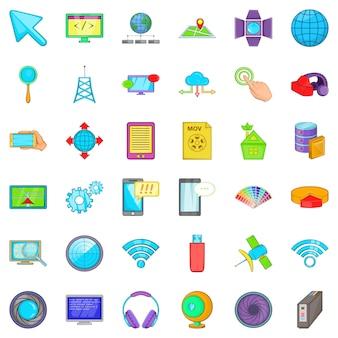 Web map icons set, cartoon style