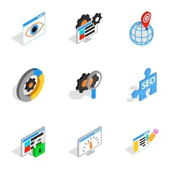 Веб-маркетинг иконки, изометрическая 3d стиль