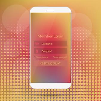 Web member login interface on phone.
