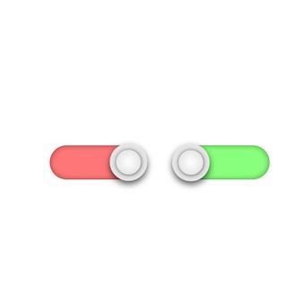 웹 모빌 gui ui 녹색 끄기 토글 스위치 버튼 프리미엄 벡터