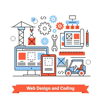 Web and mobile app designing, coding concept