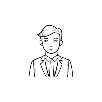웹 모바일 회사 ceo 손으로 그린 개요 낙서 벡터 아이콘. 웹 회사 직원은 흰색 배경에 격리된 인쇄, 웹, 모바일 및 인포그래픽에 대한 그림을 스케치합니다.