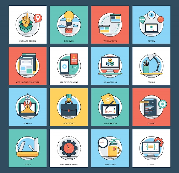 Web and mobile development icons collection