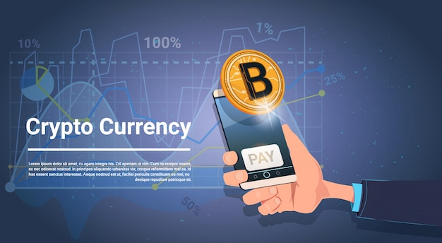 Смартфон с кнопкой оплаты золотой биткойн цифровая криптовалюта современный web money concep