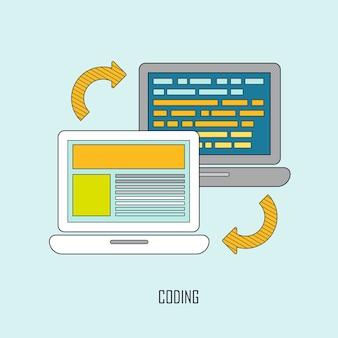 細い線のスタイルでのwebページのコーディングとプログラミング