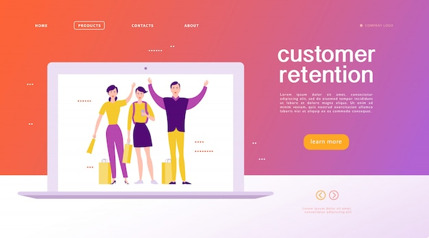 Web page concept design - customer retention theme. buying happy people with sale bag on big laptop screen. landing page, mobile app, site template. business illustration. inbound marketing.