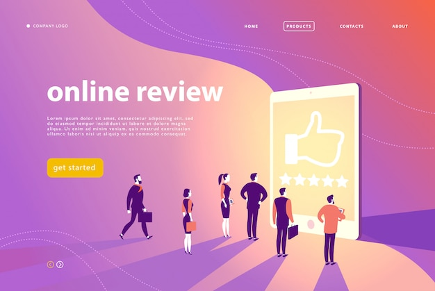 Web page concept design with online review theme - office people stand at big digital tablet watch shining screen with five stars. landing page, mobile app, site template.
