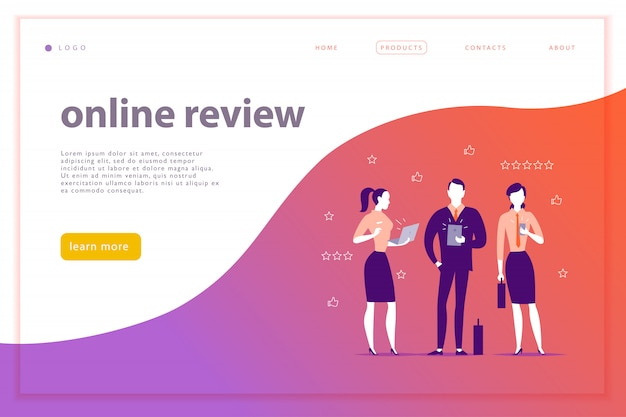 Web page concept design with online review theme. office people stand watching on mobile device screen - laptop, tablet, smartphone. thumb up, stars line icons. landing page
