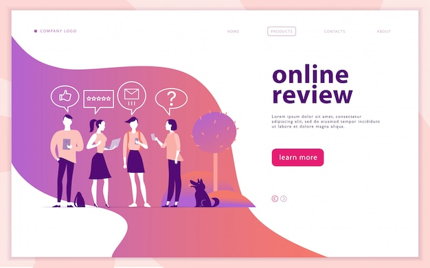 Web page concept design with online review theme. people with mobile device - laptop, tablet, smartphone - giving stars, rating. thumb up, stars line icons. landing page, mobile app, site.