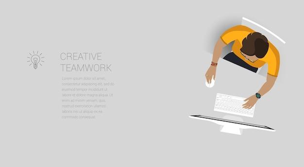 창의적인 비즈니스 프로세스 및 비즈니스 전략, 팀워크에 대한 웹 페이지 개념.