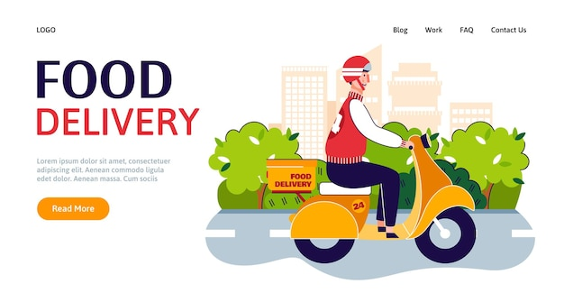 Web page for delivery service with courier delivering goods vector illustration
