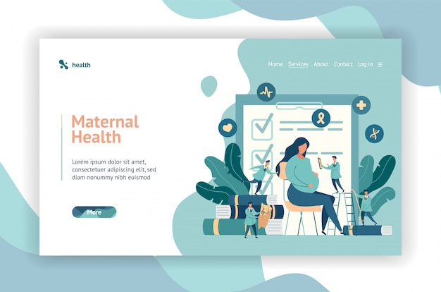 Web page design. expectant mother, pregnant woman at the doctor's office. little doctors examine a pregnant girl.