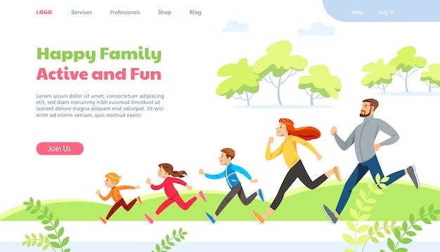 Web page design template for family running activity vector illustration.