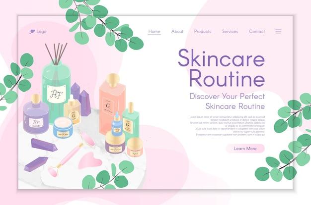 スキンケアトリートメント、美容ルーチン製品、化粧品、セルフケア用のwebページデザインテンプレート。