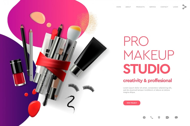 Web page design template for makeup studio, course, natural products, cosmetics, body care. modern design  concept for website and mobile website development.