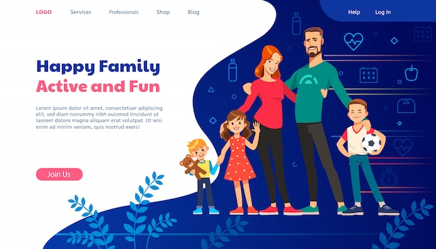Web page design templates for family planning, travel insurance, nature and healthy life.