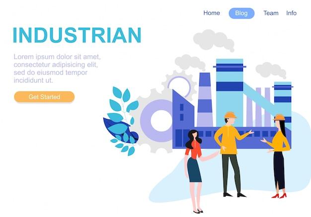 산업 팀워크를위한 웹 페이지 디자인 템플릿