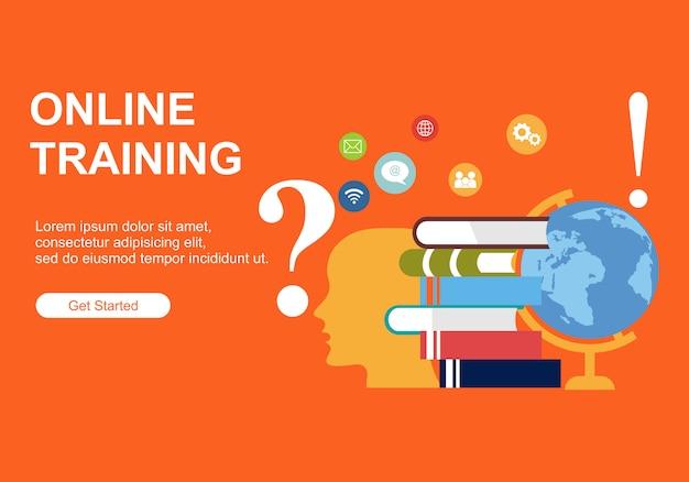 Шаблоны дизайна веб-страниц для онлайн-обучения Premium векторы