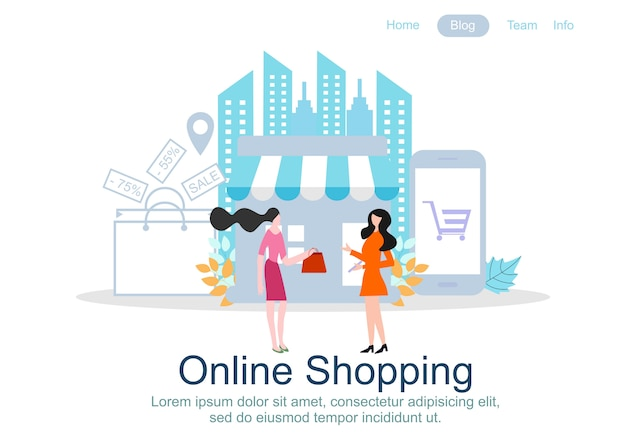 Web page design templates for online shopping