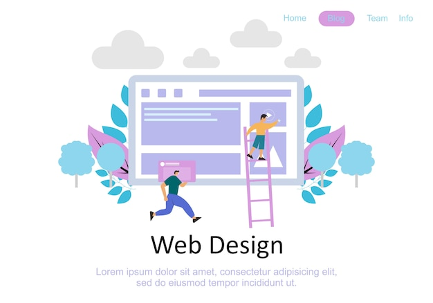 Web page design templates for teamwork