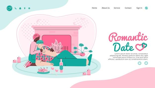 낭만적 인 날짜 및 가상 데이트 사이트 만화 벡터 일러스트 레이션을위한 웹 페이지