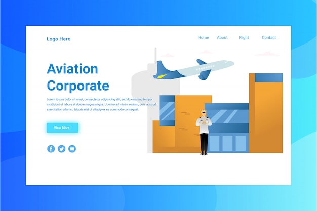 Web page header aviation corporate illustration concept landing page