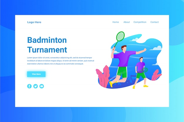 Web page header badminton turnament illustration concept landing page