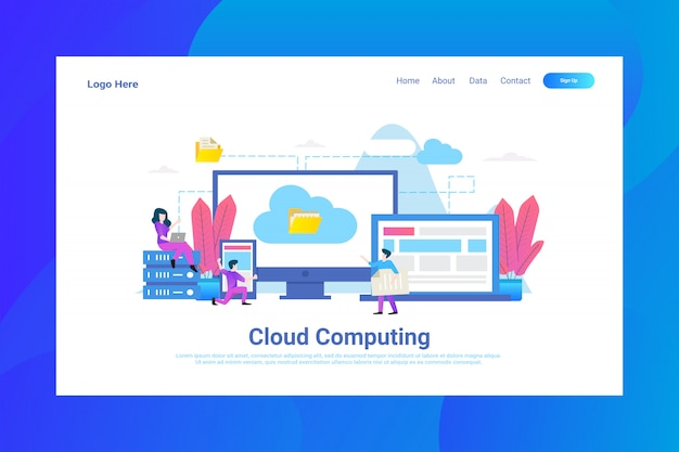 Web page header cloud computing illustration concept landing page