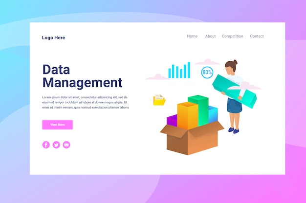 Web page header data management illustration concept landing page