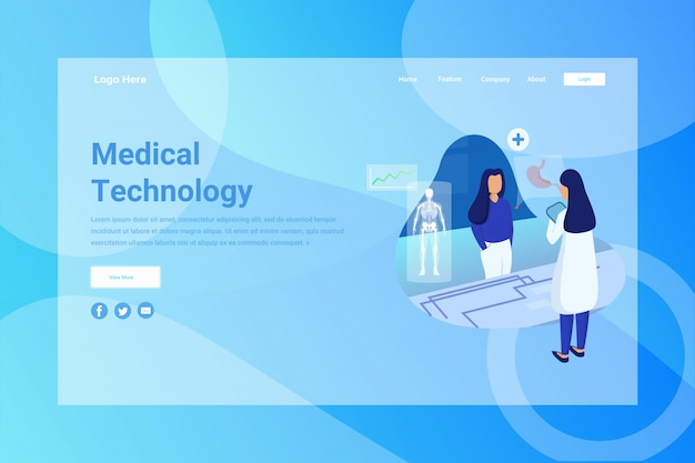 Web page header medical technology illustration concept landing page