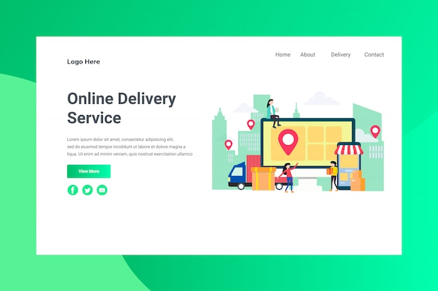 Web page header online delivery service illustration concept landing page
