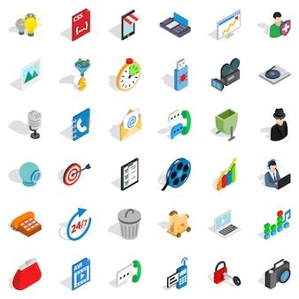 Web page icons set, isometric style