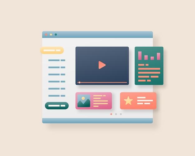 Дизайн интерфейса веб-страницы. веб-дизайн и концепция веб-разработки. оптимизация пользовательского интерфейса.