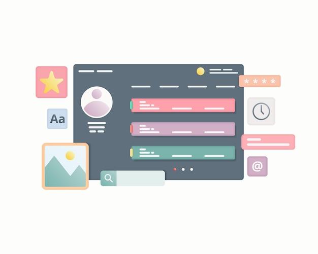 Web page interface design web design and web development concept