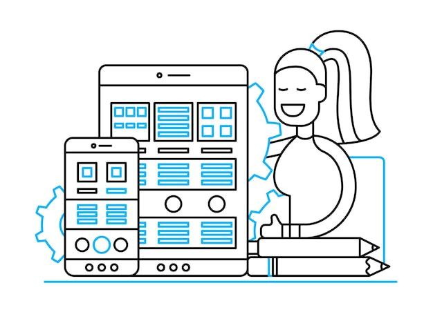 Оптимизация веб-страницы - векторная иллюстрация современного дизайна линии с мобильными устройствами и улыбающейся женщиной