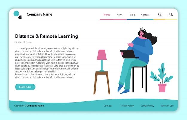 フラットでクリーンなデザインのwebページサイトの概念図。ランディングページ、オンラインリモート学習および教育用の単一ページアプリケーション。