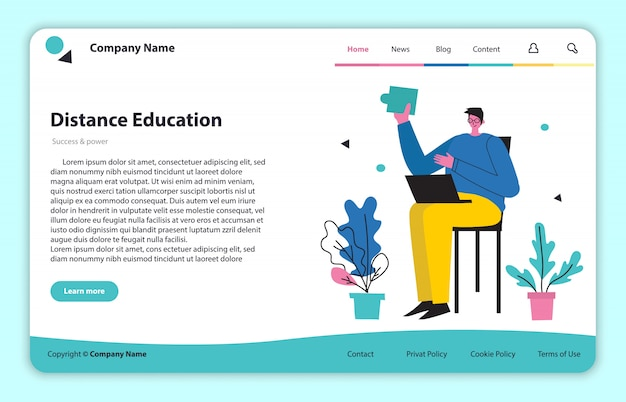 Web page site concept illustration in modern flat and clean design. landing page, single page application for online remote learning and education.