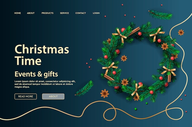 クリスマス休暇用のwebページテンプレート。ランディングページ、ポスター、バナー、ウェブサイトの開発のためのベクトルイラスト