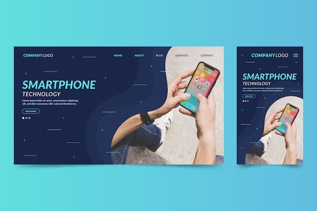 Web page template for laptops and phones