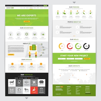 Web page vertical design set with new project symbols