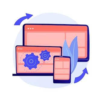Webページの視覚化。プロトコル手順。動的なソフトウェアワークフロー。フルスタックの開発、マークアップ、システムの管理。共有メモリ用のドライバ。ベクトル分離された概念の比喩の図。