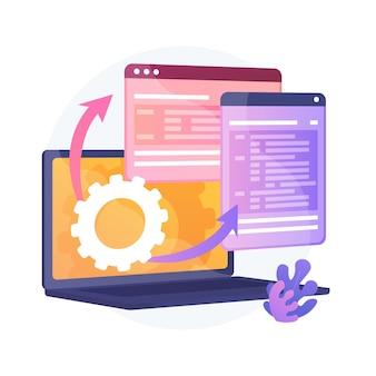 Visualizzazione della pagina web. procedura del protocollo. flusso di lavoro dinamico del software. sviluppo full stack, markup, amministrazione del sistema. driver per la memoria condivisa. illustrazione della metafora del concetto isolato di vettore.