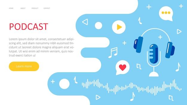 Веб-страница с коллекцией подкастов streaming online показывает приложение для подкастов для ведения блогов