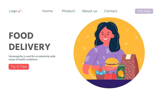 Web page with delivery service of takeaway food. mobile application for product online order. vector illustration