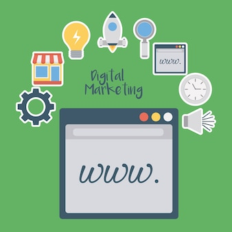Web page with digital marketing related icons