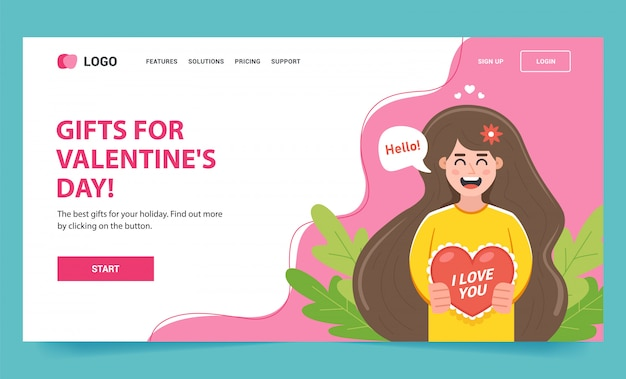 Web page with a girl character who gives a postcard to her beloved person on february 14.