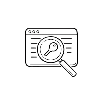 Web page with magnifier and key hand drawn outline doodle icon. keywords search, seo, page optimization concept