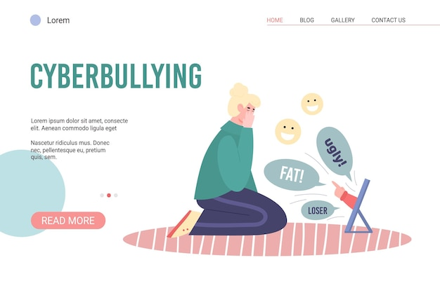 Web page with upset girl suffering from cyberbullying and abuse in internet
