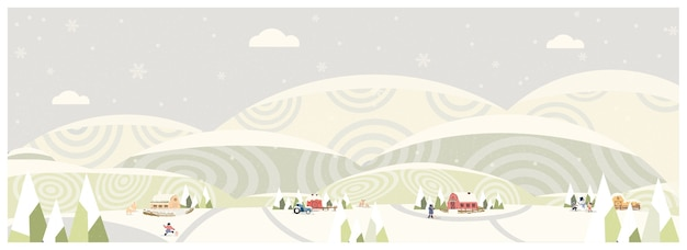 Web panorama of countryside landscape in winterbanner of farm housevintage ice green mountains or hill with snowflakebarn and antilope deer