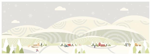 Веб-панорама сельского пейзажа зимой, баннер фермерского дома, старинные ледяные зеленые горы или холм со снежным сараем и оленями-антилопами